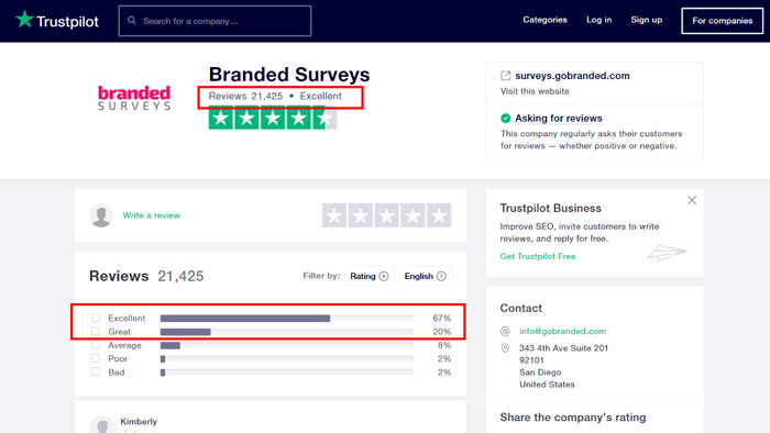 Branded Survey Reviews on Trustpilot