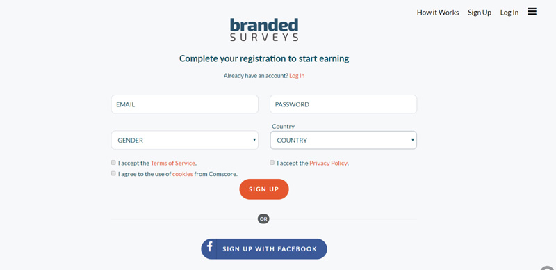Branded Surveys sign up