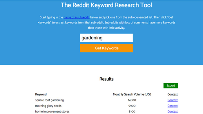 Keyworddit free keyword search volume tool